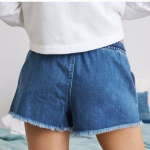 Aerie denim cutoff drawstring shorts size XL